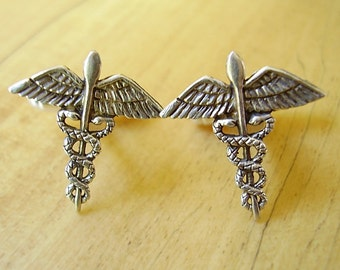 One Pair Sterling Silver Caduceus Cufflinks In Presentation Box