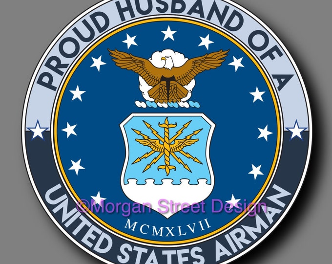 US Air Force Airman Husband Die Cut Vinyl Decal Sticker
