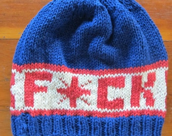 F*ck Cancer Men's Handmade Knitted Hat Red,White and Blue Cotton