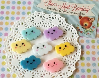 SALE - Kawaii Decoden Cabochons - Happy Little Clouds - Decoden Cabochons - Cloud Cabochons ( 7 pcs )