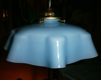 Original Pale Blue Vintage French light shade, glass shade, France, Art Deco, Antique, pendant  fixture, Shabby chic, Chateau Chic,