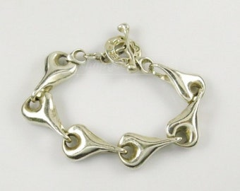 Heavy 94 gram Robert Lee Morris Sterling Silver Heart Linked RML 925  Bracelet