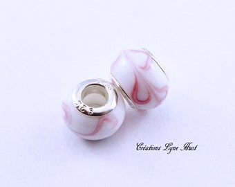 Choose 2, 5 or 12 Murano glass beads charm Européan style ! White and Pink color !