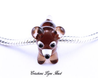 Beautiful charming representing a Small Dog to insert on your bracelet charms ! European bead