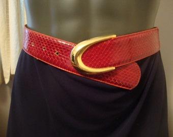 Vintage Red Snakeskin Belt Small