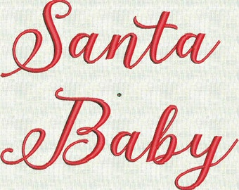Santa Baby Christmas Fancy Script  Machine Embroidery Font  Designs Holiday  3 sizes PES Format Instant Download