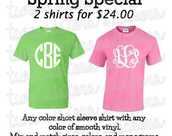 Two Vinyl Monogrammed Short Sleeve Adult Tshirts--SPRING SPECIAL!!