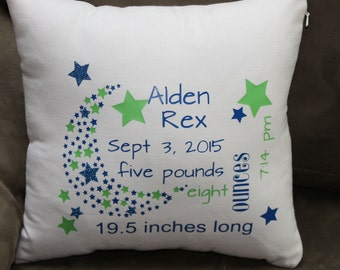 Baby Announcement Pillow - 3 color,  16 inch square