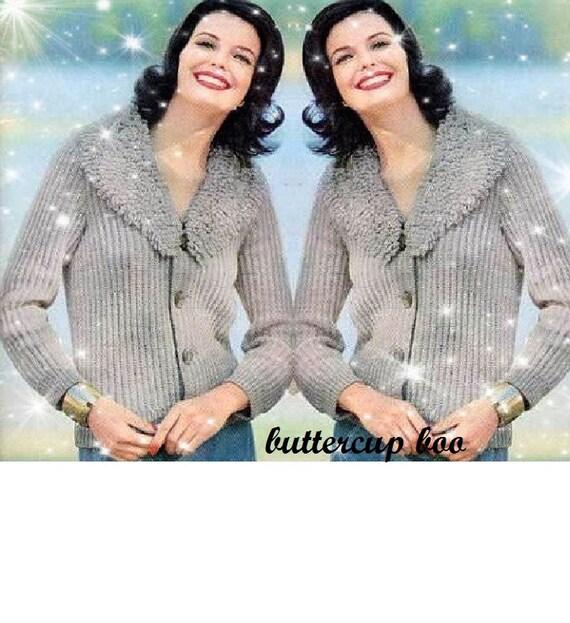 Knitting Pattern For Ladies Loopy Cardigan : Vintage Knitting Pattern - Ladies Loopy Shawl collar Jacket/Cardigan - Instan...