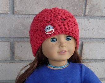 Doll Hat for 18 Inch Doll, Red with Sock Monkey