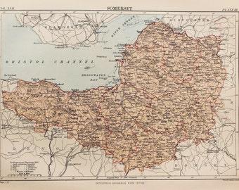 Antique Map of Somerset. Encyclopedia Britannica, 1870s