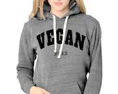 VEGAN Unisex Eco Grey Fleece Hooded Pullover – Vegan FTLA | For The Love of Animals XS-3XL