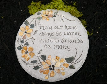 Engraved Stepping Stone, Housewarming Gift, Garden Decor, Mosaic Garden Paver, Welcome sign, All-Natural Mosaic Stepping Stone