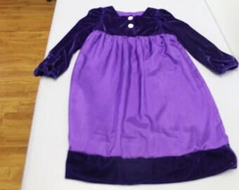 Dark Purple size 8 dress with velvet top
