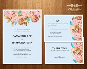 Wedding Invitation, RSVP, Thank You Card, Printable Wedding Invitation Set; Floral Blue and Gold Wedding Invitation Printable Set