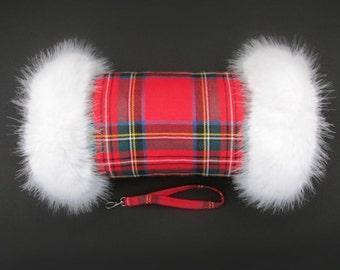 Royal Stewart 100% Wool Tartan Hand Muff with White Faux Fur Trim