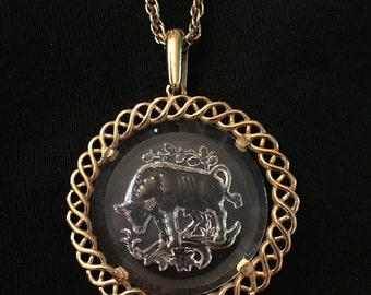 Trifari Bull Intaglio Necklace