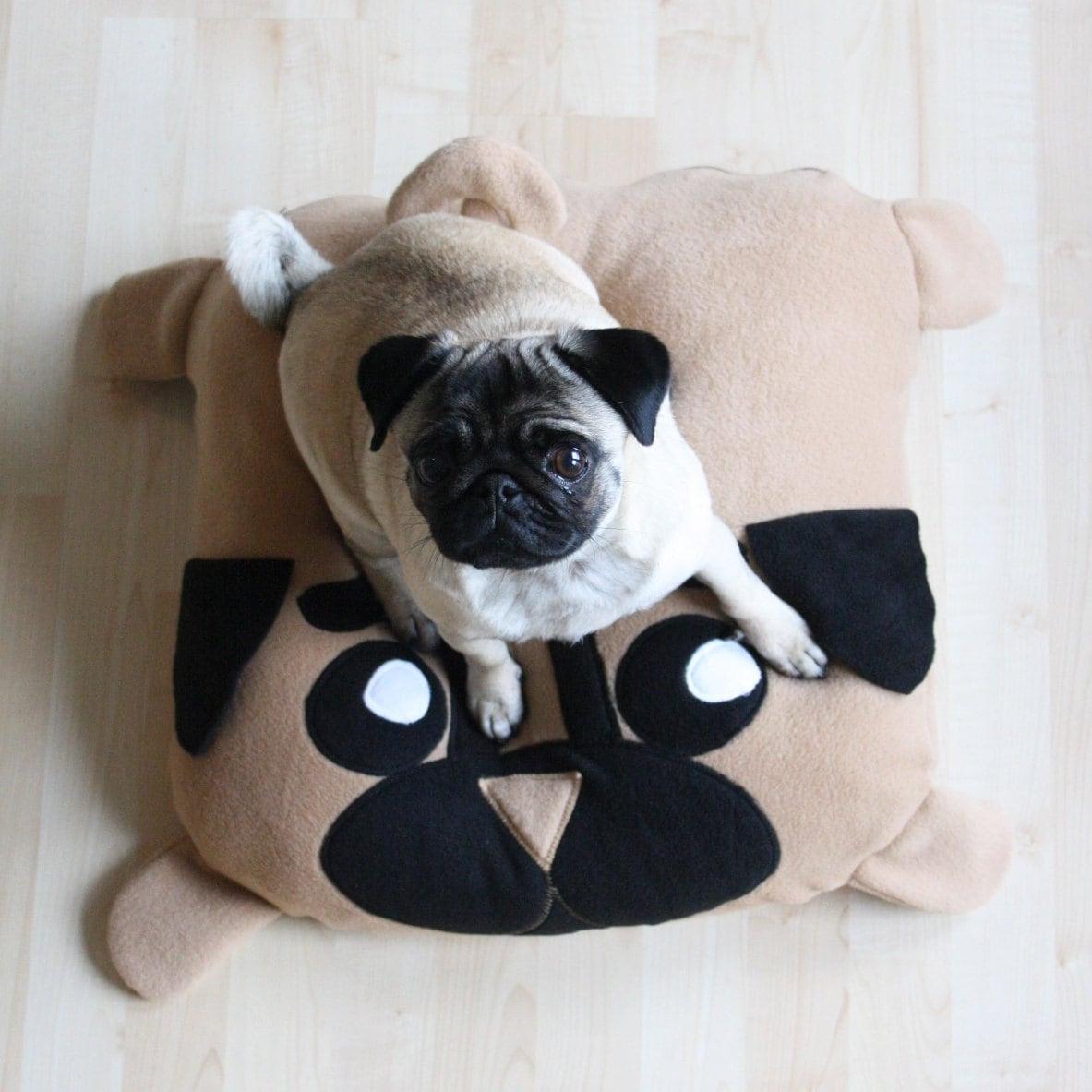 Cute Dog Pillow Beds : XS Pug pillow dog bed pouf pugs cute