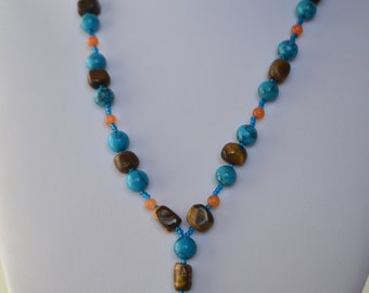 Vintage Natural Turquoise Tiger Eye Orange Jade Gemstone Bead Necklace