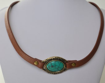 Brown Leather Turquoise Filigree Brass Metal Pendant Choker Necklace
