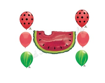 WATERMELON Birthday Balloons Decoration Supplies Fair Summer Picnic Party