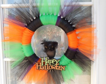 Halloween Tulle Wreath, Happy Halloween, Halloween Door Decor, Halloween Wreath, Halloween Tulle Wreath