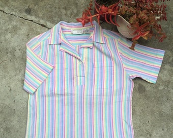1970's Mervyns For Her S/S Striped Shirt
