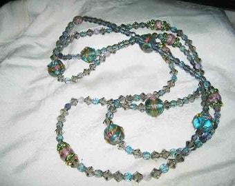 "Vintage Venetian Wedding Cake Lampworks & Crystal Necklace 54"""