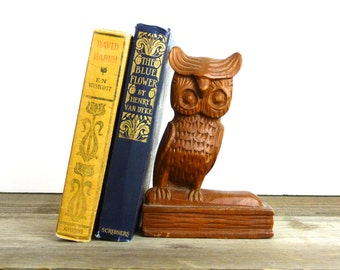 Vintage hand carved wooden owl statue | wooden owl bookend | 1573