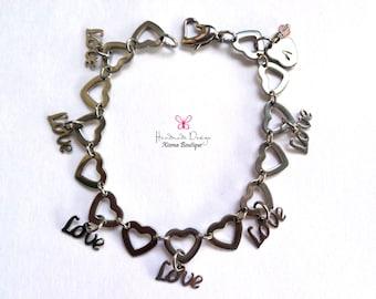 Stainless Steel Heart Link Bracelet/Love Bracelet/ Initial + Birthstone Crystal/ Heart Love Bracelet