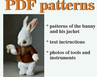 PDF teddy bear pattern download create Teddy Bear stile Artis viscose Rabbit 11 inch handmade collectible  Teddy Bear  Bunny sewing pattern