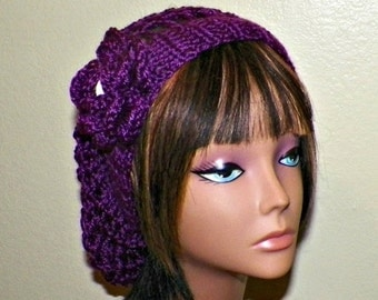 On Sale- Purple Slouchy Hat Summer Crochet Womens Tam Beret Boho Mesh Open Weave  Rose Flower Beanie Rasta