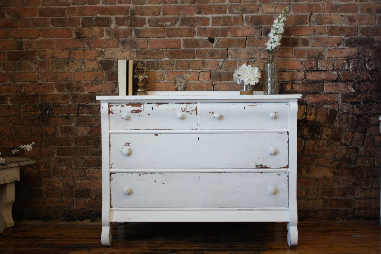 Antique Distressed Rustic White Dresser Item 0040