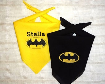 BATMAN and BATGIRL Dog Bandana in Black or Gold Personalized Available