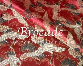 Crane fabric. Red Brocade. Cheongsam fabric