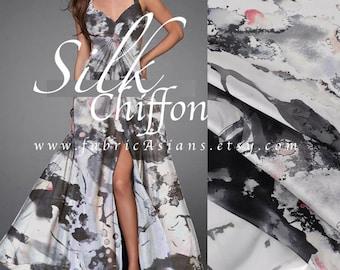 Grey silk chiffon by yard - achat tissu asiatique