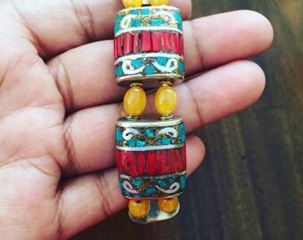 Handmade bead bracelet, with Amber adjustable knotting