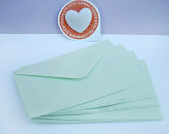 Small Green Envelopes x20, Mini Paper Envelopes in Pastel Green Color, 76x120mm Small Mint Envelopes