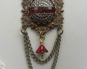 Victorian Filigree Pendant, Repurposed Vintage Jewelry, Red, Gold, Chocolate Victorian Necklace, Vintage Glass Cabochon Necklace, Handmade