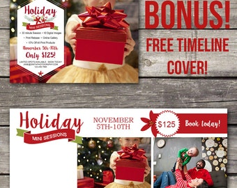 Holiday Mini Session Template - Photoshop Template for Photography - Christmas Mini Session - Facebook Cover - 106