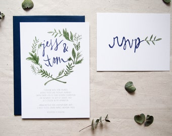 SAMPLE floral wreath bohemian wedding invitation // THE OLIVE // olive green navy blue hand drawn woodland leaf wreath