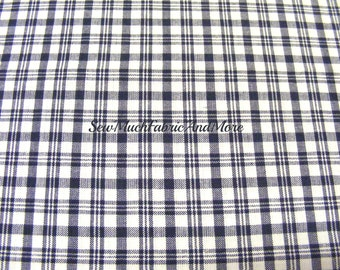 Navy Blue & White Plaid Homespun Fabric~by the 1/2 yard~cotton~primitives~crafts~quilting