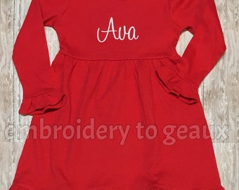 Monogrammed Girl's Ruffle Dress, Girls Christmas Dress, Girls Holiday Dress, Toddler Girls Holiday Dress