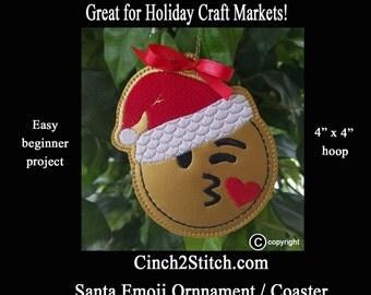 "Santa Emoji Ornament/Coasters - In The Hoop - Machine Embroidery Design Download (4"" x 4"" Hoop) Craft Fair, Easy Gifts"