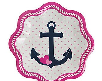 8/ Nautical Baby Girl Dessert Plates