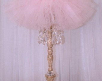 Alexandria Rose table Lamp with Tutu Shade Pink Gold finish with clear crystals custom made to order in any finish.