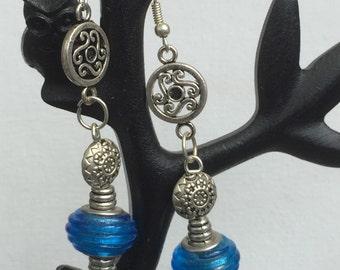 Blue Murano and Tibetan silver bead earrings