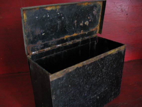 Vintage Black Metal Box Hinged Lid Heavy Industrial Storage
