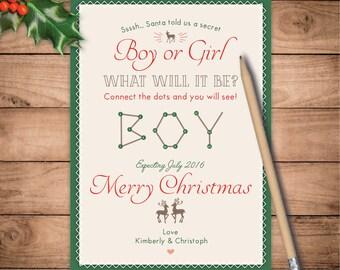 Christmas pregnancy announcement Gender Reveal Connect Dots christmas pregnancy card holiday Secret Santa