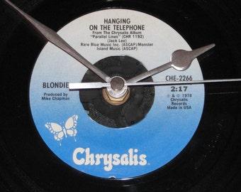 "Blondie hanging on the telephone  7"" vinyl record clock"